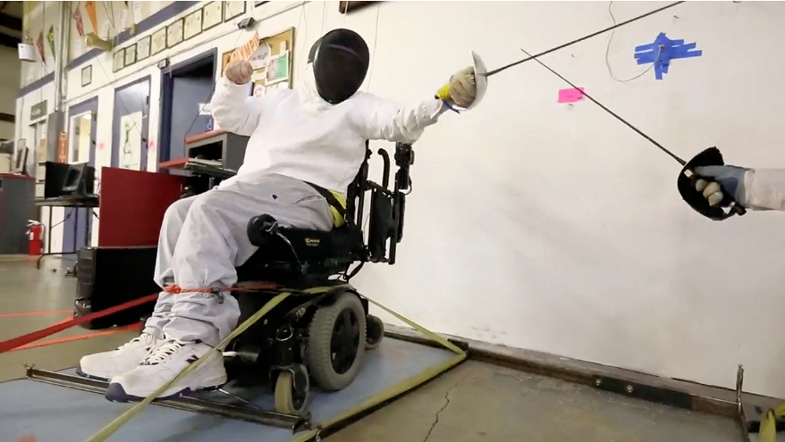 Wheelchair fencing a joy to man with cerebral palsy